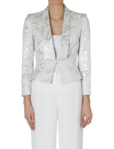 Metal Element - Carla Zampatti Silver Clouds Brocade Crop Jacket and Pant from David Jones